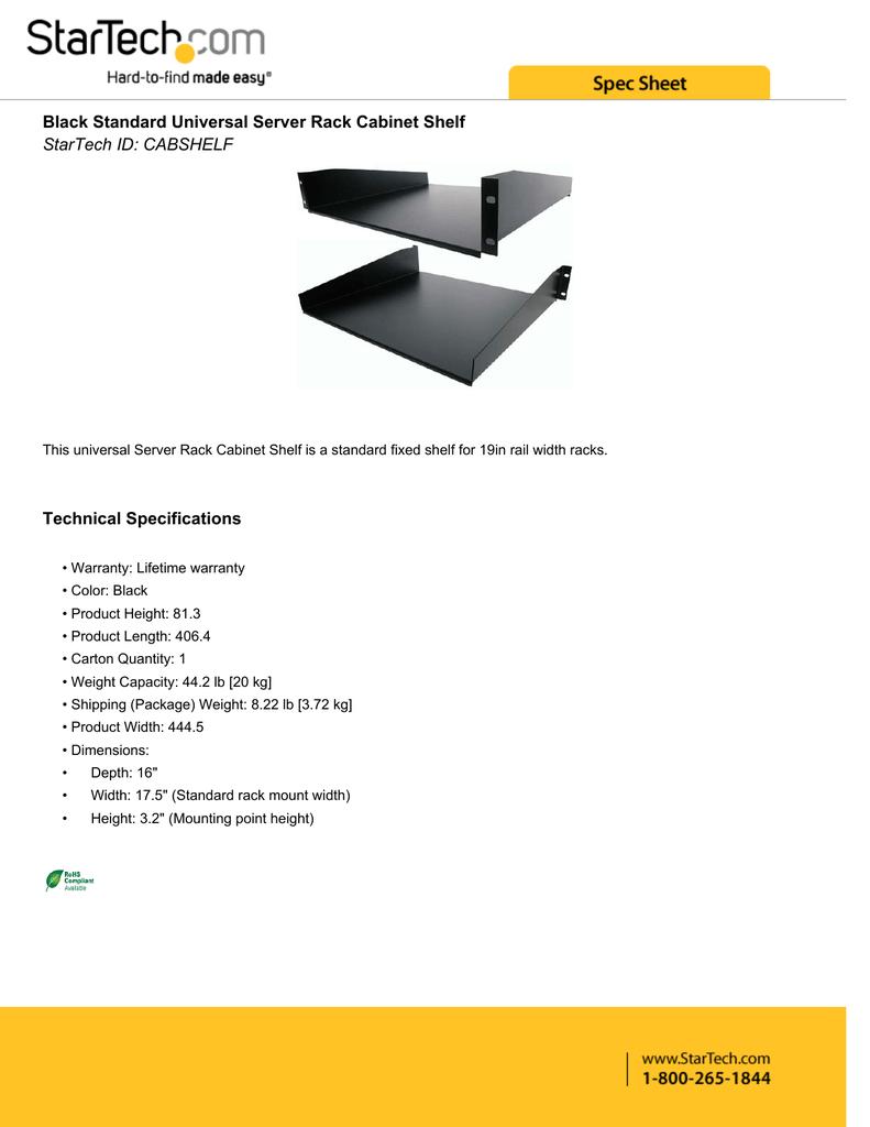 Black Standard Universal Server Rack Cabinet Shelf Technical