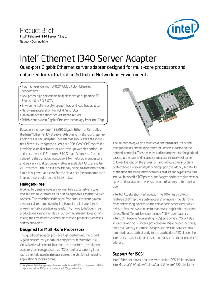Intel Ethernet I340 Server Adapter Product Brief ® | manualzz com