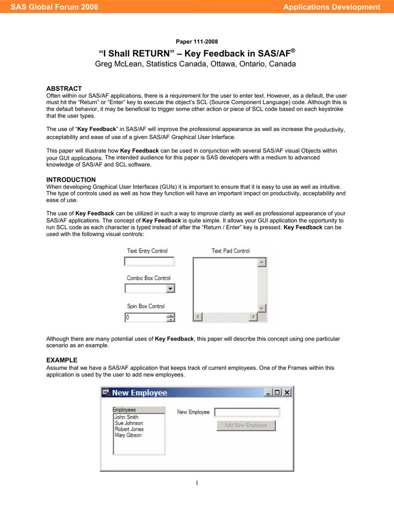 """I Shall RETURN"""" – Key Feedback in SAS/AF Applications Development"""