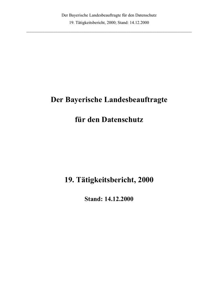 Der Bayerische Landesbeauftragte für den Datenschutz 19 ...