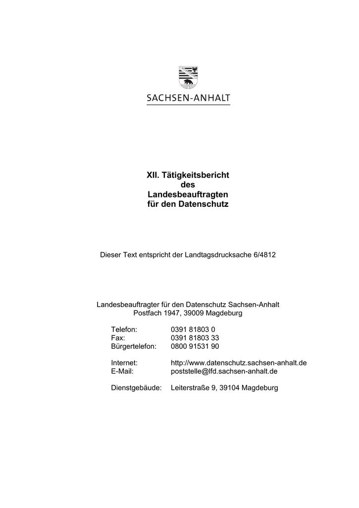 XII. Tätigkeitsbericht des Landesbeauftragten für den Datenschutz ...