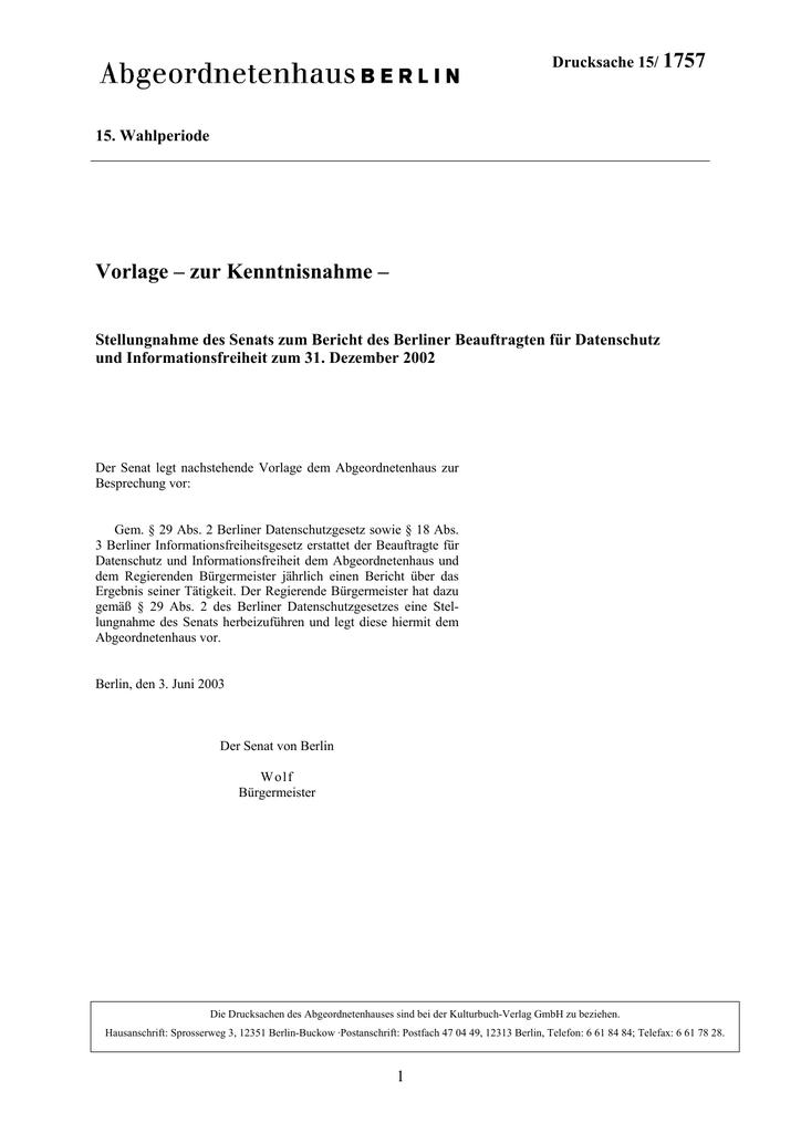 1757 Vorlage – zur Kenntnisnahme – | manualzz.com