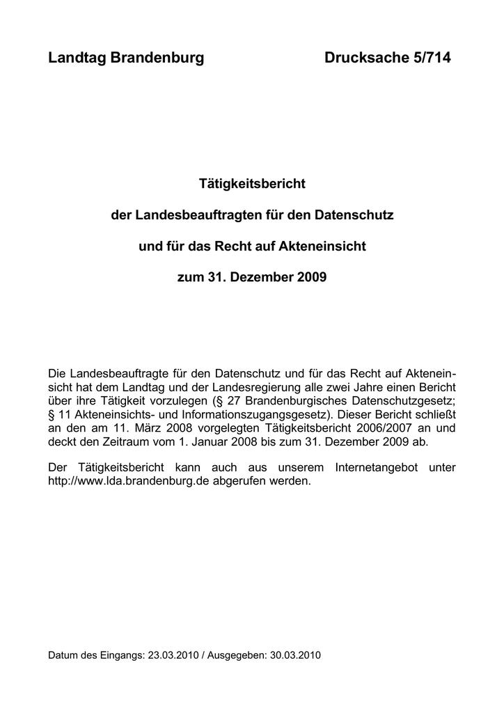 Landtag Brandenburg Drucksache 5 714 Manualzz Com