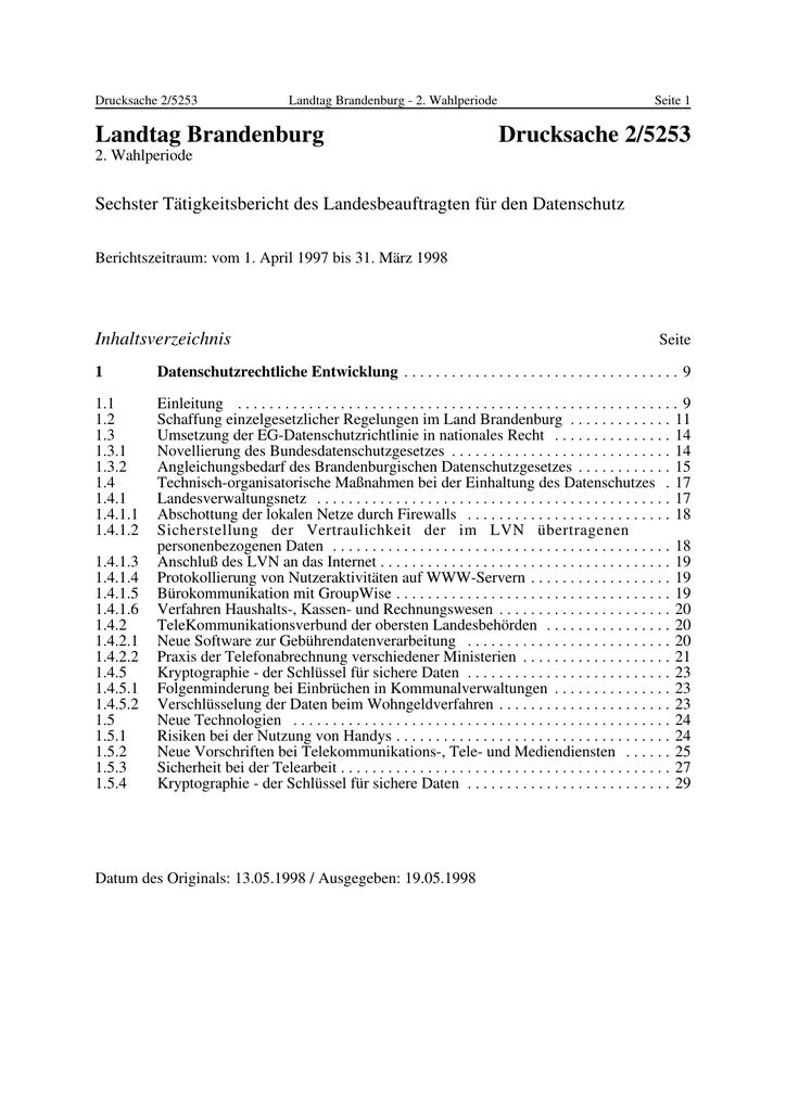 Landtag Brandenburg Drucksache 2/5253 Sechster Tätigkeitsbericht des ...