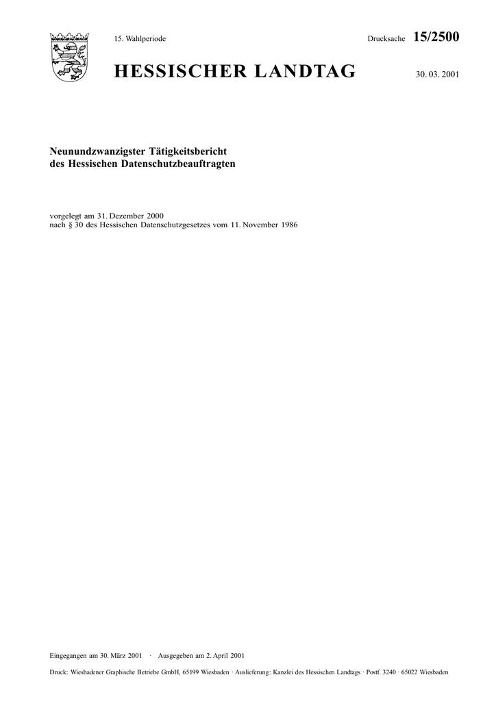 HESSISCHER LANDTAG 15/2500 Neunundzwanzigster Tätigkeitsbericht des ...