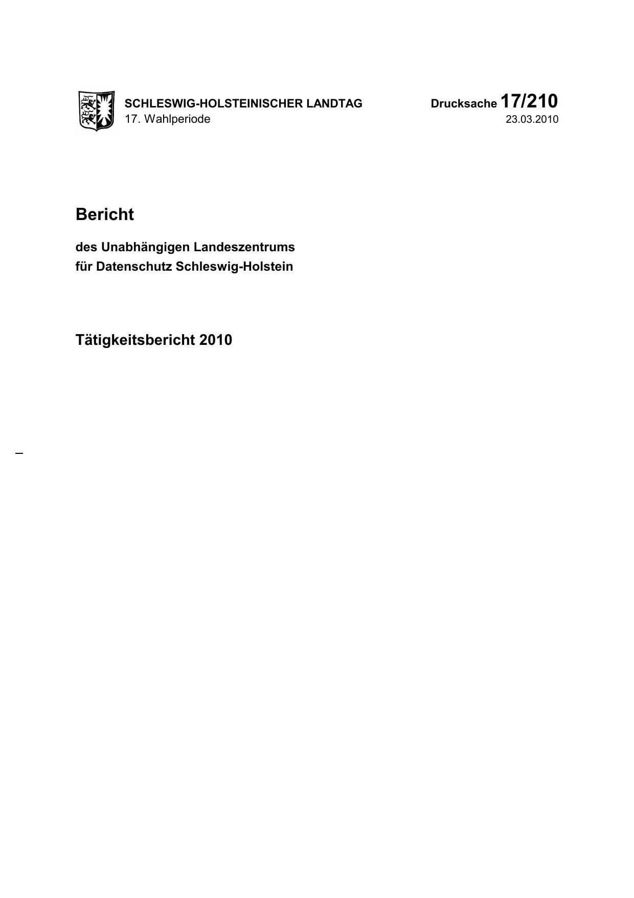 17/210 Bericht Tätigkeitsbericht 2010   manualzz.com