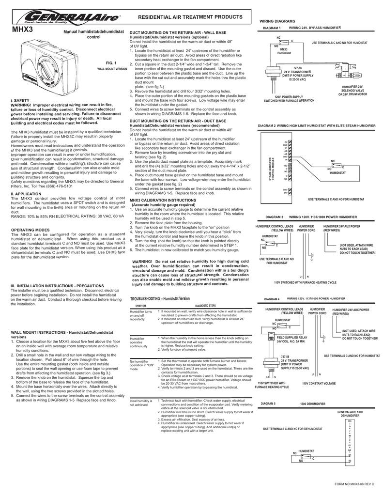 MHX3 RESIDENTIAL AIR TREATMENT PRODUCTS Manual humidistat/dehumidistat  control   Manualzzmanualzz