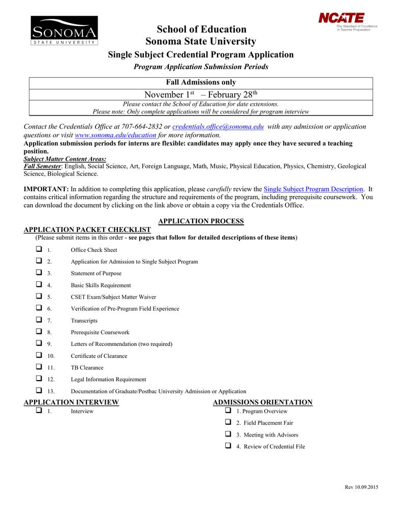 School of Education Sonoma State University Single Subject
