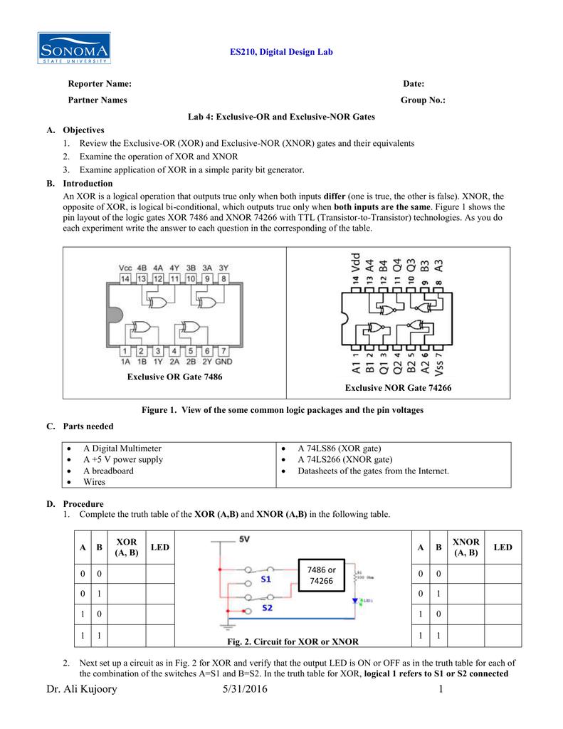 Es210 Digital Design Lab Reporter Name Date Logic Diagram Of Xnor Gate