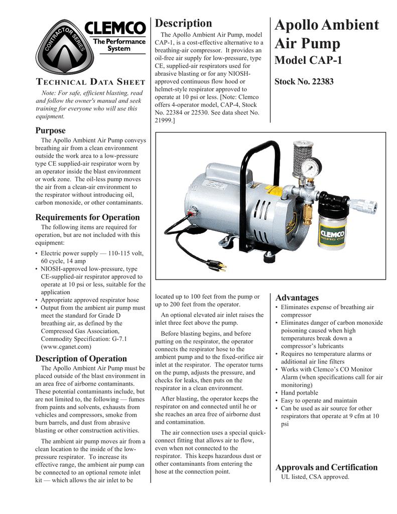 Apollo Ambient Air Pump Model CAP-1 T   manualzz com