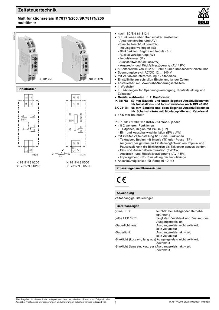 Zeitsteuertechnik Multifunktionsrelais IK 7817N/200, SK 7817N/200 ...