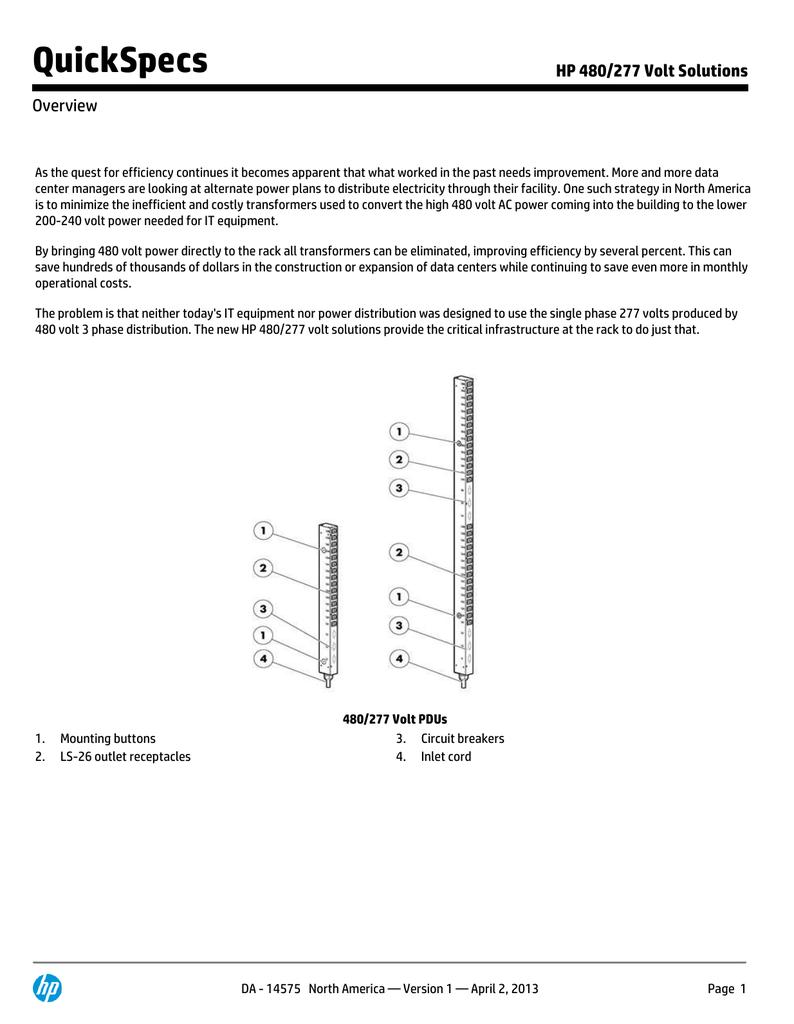 Quickspecs Hp 480 277 Volt Solutions Overview 277v Wiring Diagram