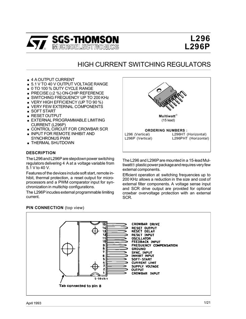 L296 L296P HIGH CURRENT SWITCHING REGULATORS | manualzz com
