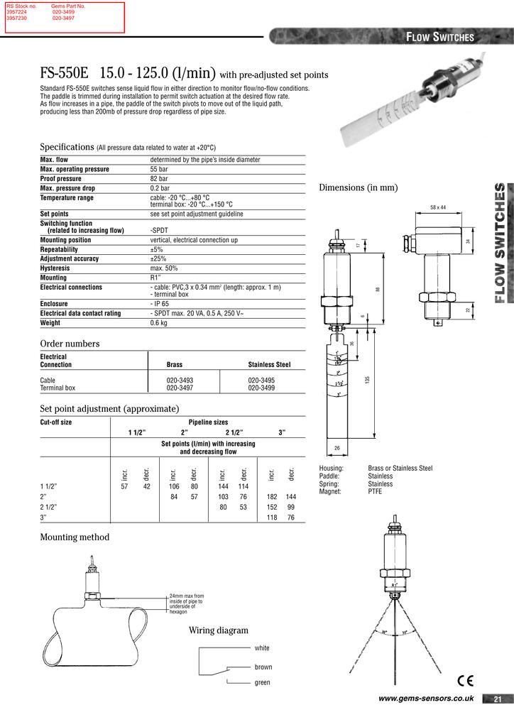 FS-550E 15.0 - 125.0 (l/min) F S with pre-adjusted set points | Manualzz | Gem Sensors Wiring Diagrams |  | Manualzz