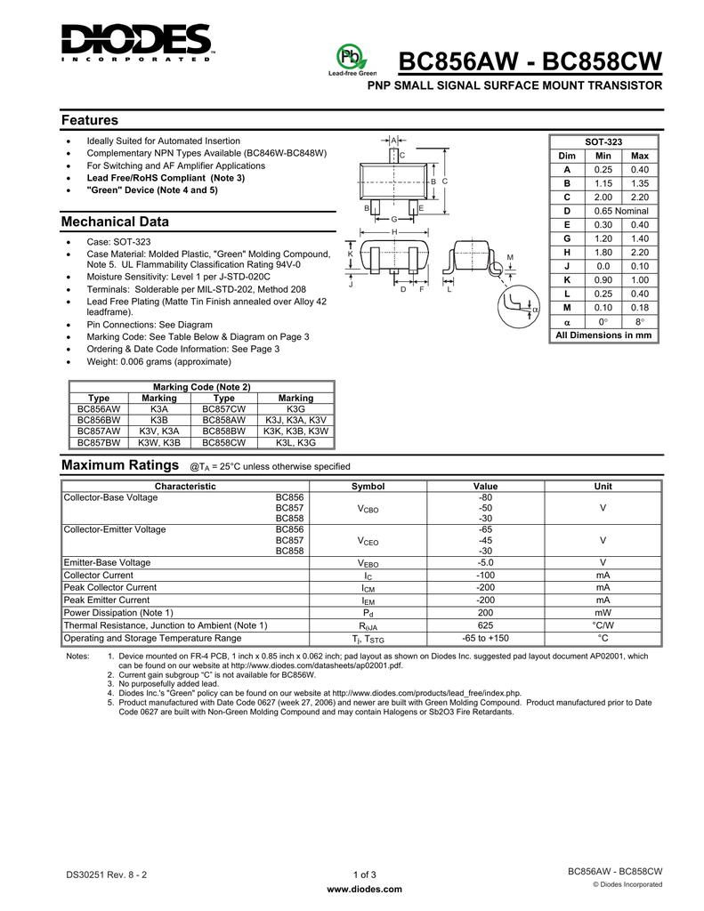 3000 BC857BW-7-F BC857BW PNP SMALL SIGNAL SMD Surface Mount TRANSISTOR Tape Reel