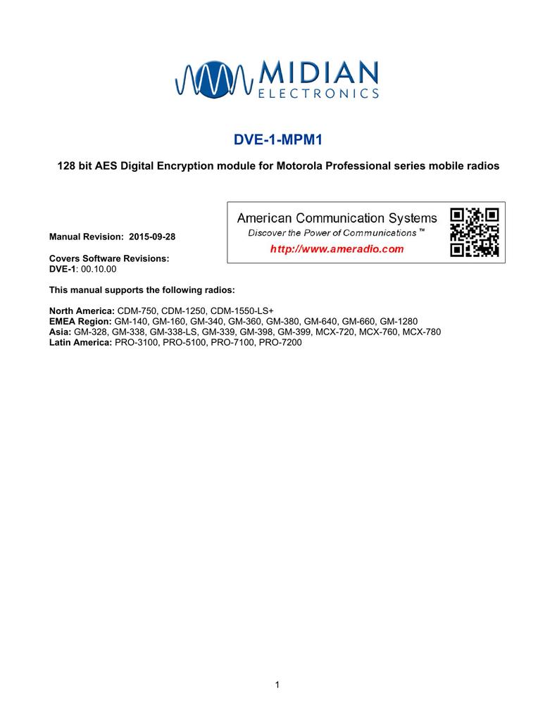 DVE-1-MPM1 128 bit AES Digital Encryption module for Motorola