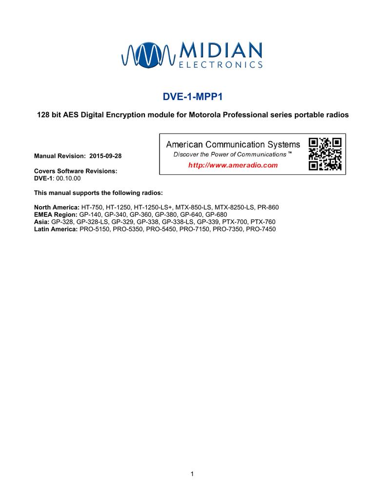DVE-1-MPP1 128 bit AES Digital Encryption module for Motorola Professional  series...   manualzz.com