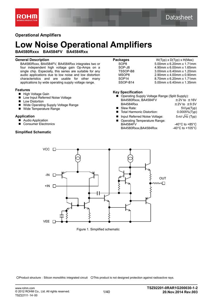 Low Noise Operational Amplifiers Datasheet Operational