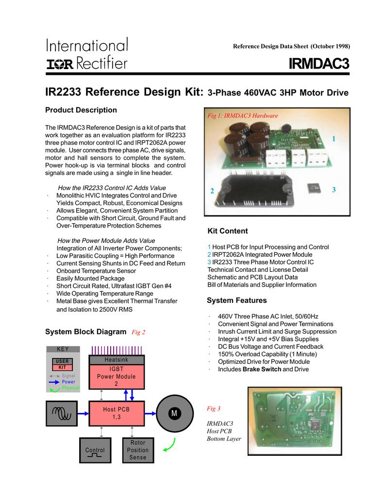 IRMDAC3 IR2233 Reference Design Kit: 3-Phase 460VAC 3HP Motor Drive