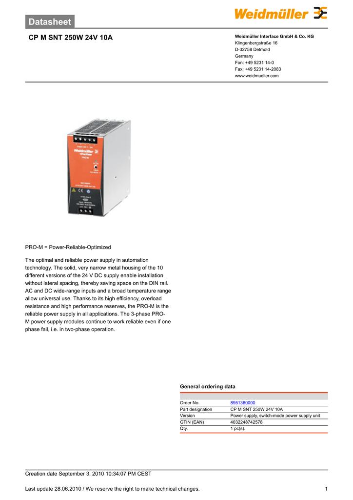 Datasheet CP M SNT 250W 24V 10A | manualzz com