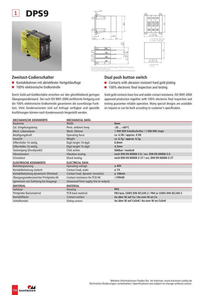 DPS9 Zweitast-Codierschalter Dual push button switch | manualzz.com
