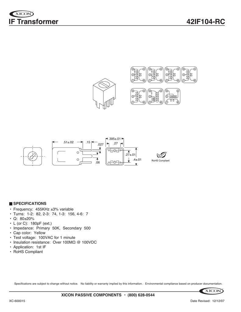 IF Transformer 42IF104-RC   manualzz com