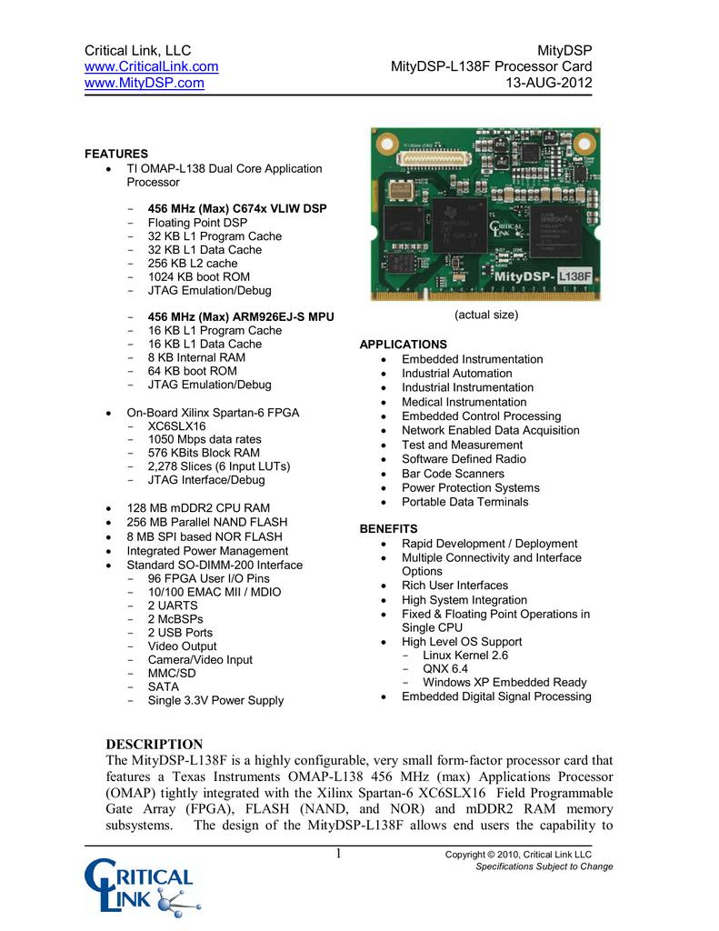 Critical Link, LLC MityDSP MityDSP-L138F Processor Card