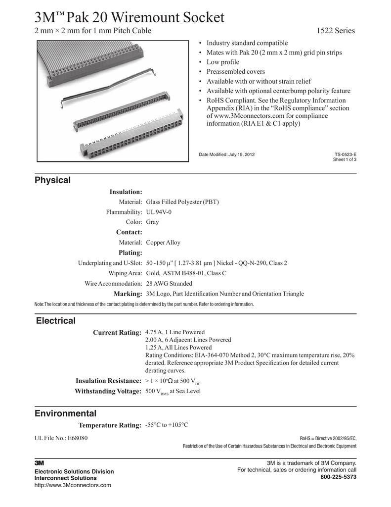 3M Pak 20 Wiremount Socket ™ | manualzz com