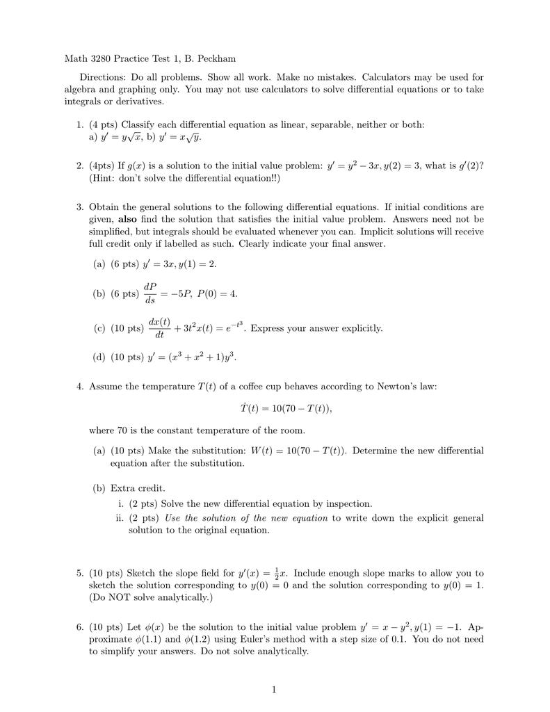 Math 3280 Practice Test 1, B  Peckham | manualzz com