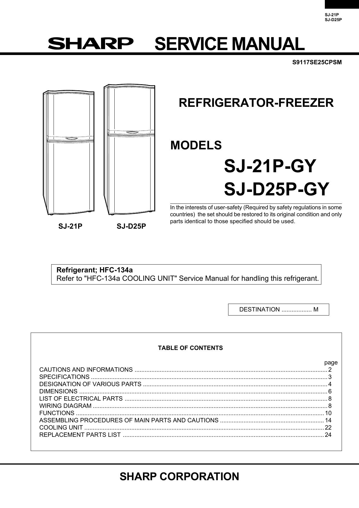 Service manual sj 21p gy sj d25p gy refrigerator freezer manualzz asfbconference2016 Images