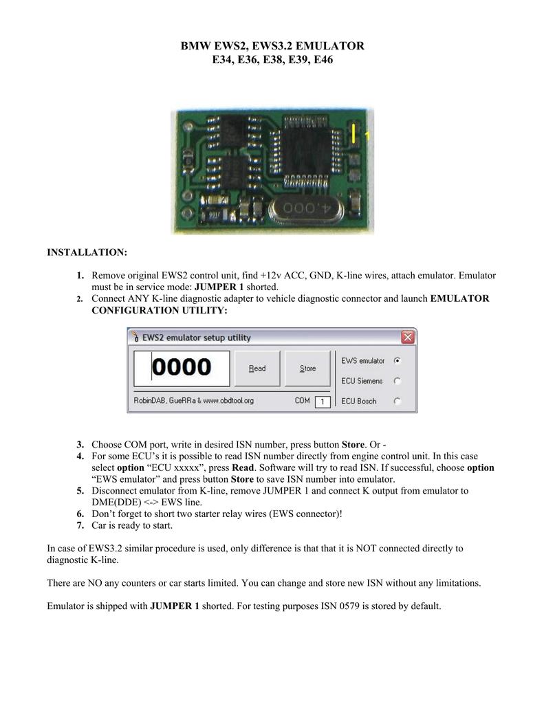 Bmw Ews2 Ews32 Emulator E34 E36 E38 E39 E46 Dme Wiring