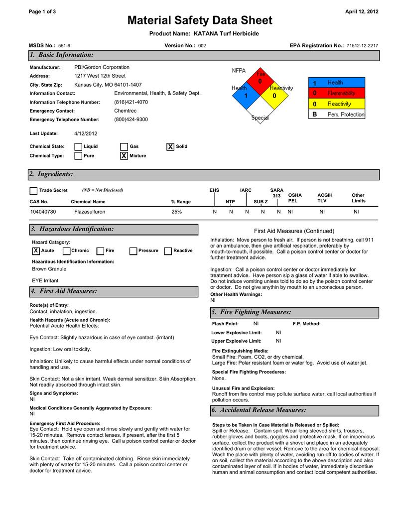 Material Safety Data Sheet 1 Basic Information 0 1 Manualzz