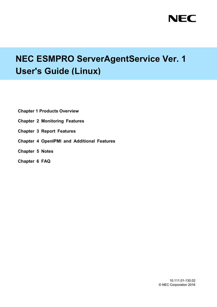 NEC ESMPRO ServerAgentService Ver  1 User's Guide (Linux
