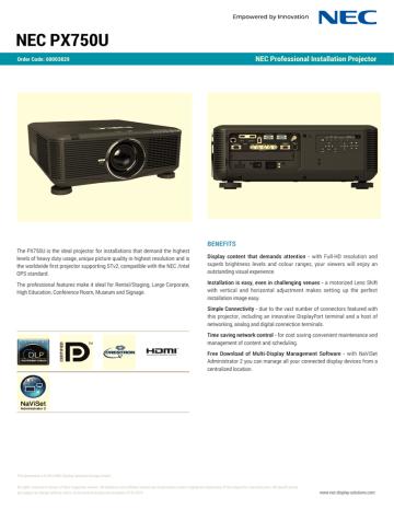 NEC-PX750U.pdf | Manualzz