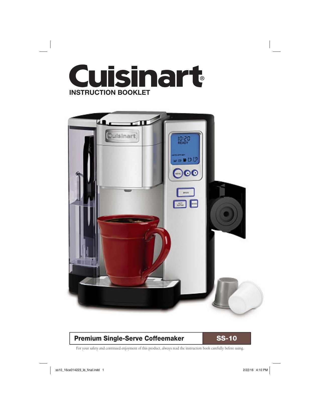INSTRUCTION BOOKLET Premium Single-Serve Coffeemaker SS-10 | Manualzz