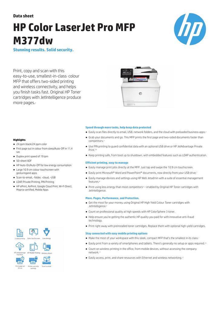 HP Color LaserJet Pro MFP M377dw   manualzz com