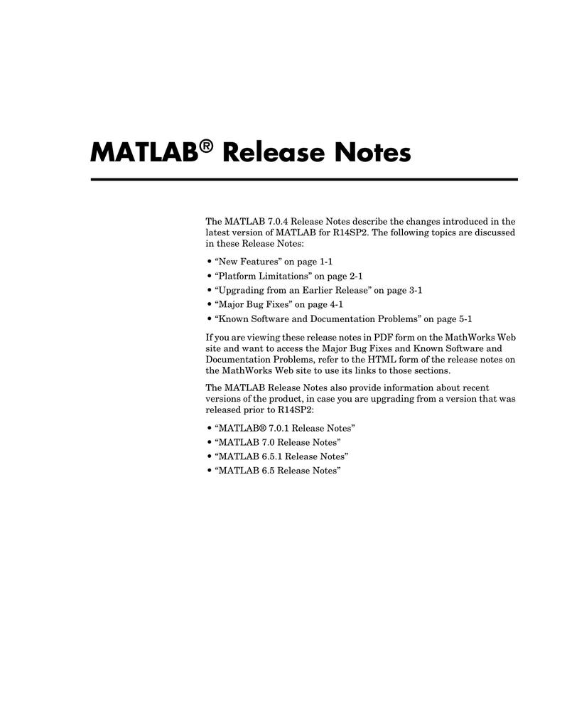 MATLAB Release Notes ® | manualzz com