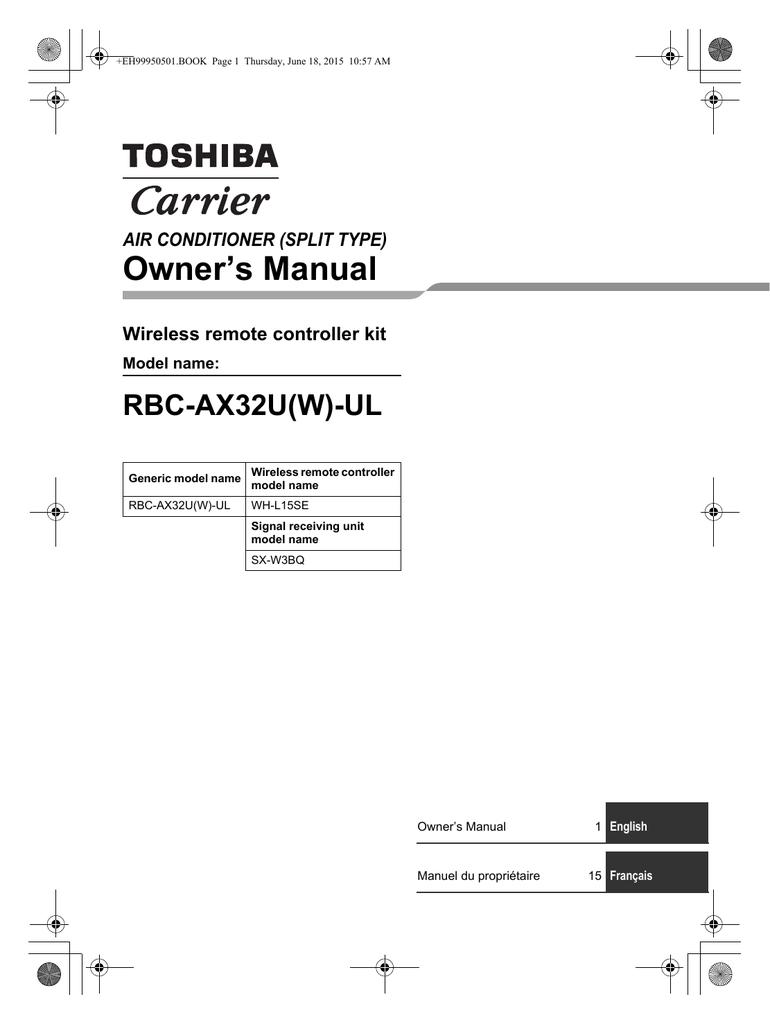 Owner's Manual RBC-AX32U(W)-UL Wireless remote controller kit AIR  CONDITIONER (SPLIT TYPE) | manualzz.com