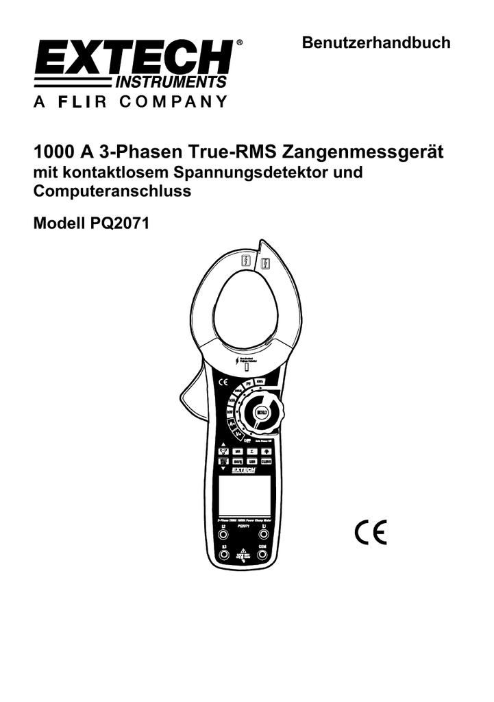 1000 A 3-Phasen True-RMS Zangenmessgerät Benutzerhandbuch mit ...