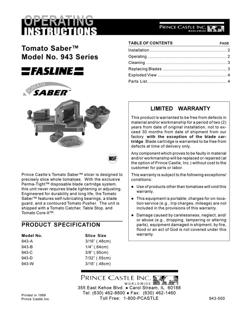 7//32 PRINCE CASTLE 943-052 Tomato Pusher Assembly