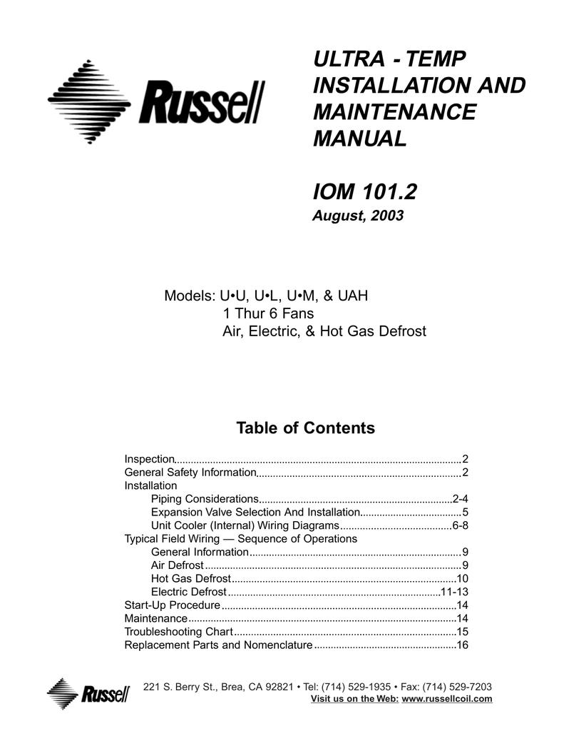Ultra Temp Installation And Maintenance Manual Sx 230 Wiring Diagram