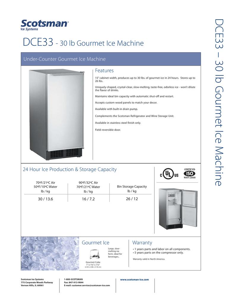 Dce33 Dce33 30 Lb Gour 30 Lb Gourmet Ice Machine Manualzz