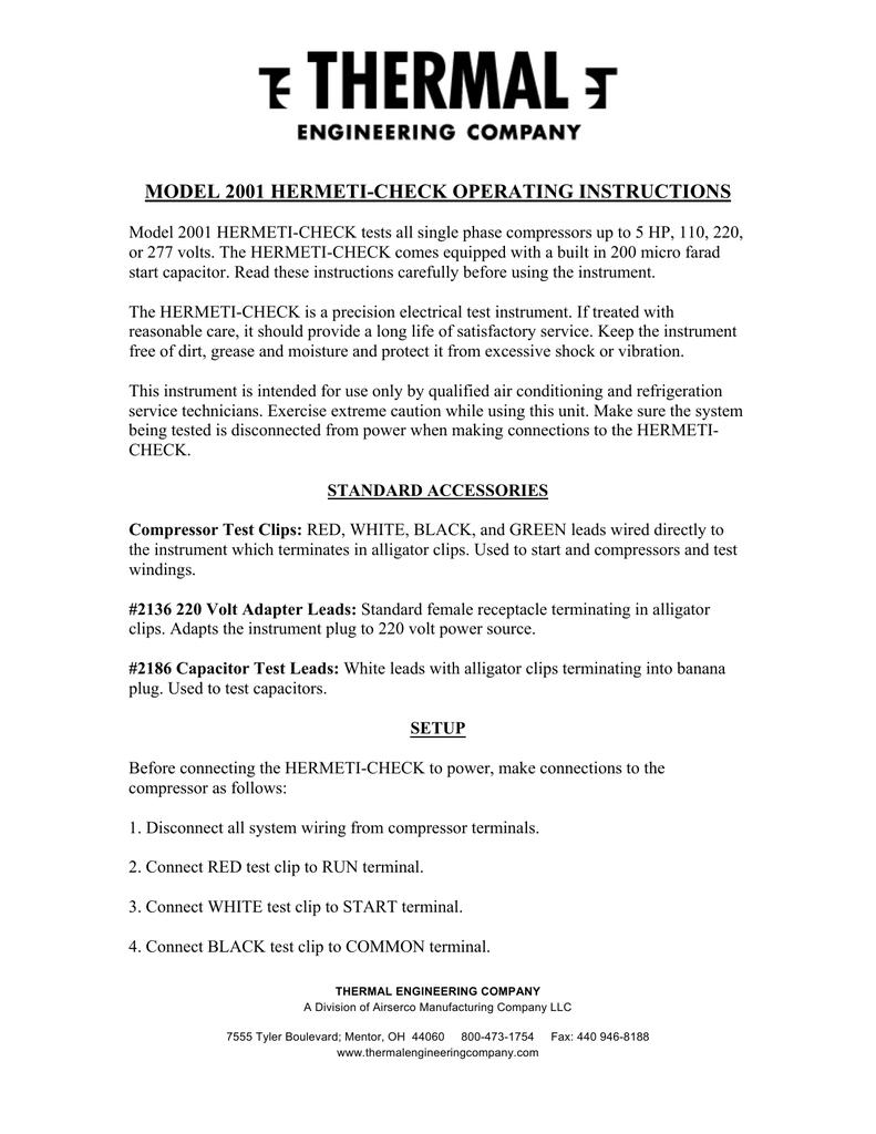MODEL 2001 HERMETI-CHECK OPERATING INSTRUCTIONS   manualzz com