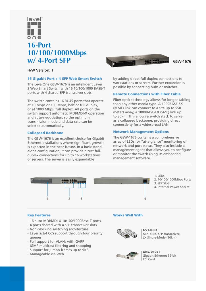 16-Port 10/100/1000Mbps w/ 4-Port SFP GSW-1676 | manualzz com