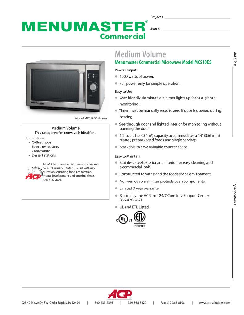 Volume Menumaster Commercial Microwave