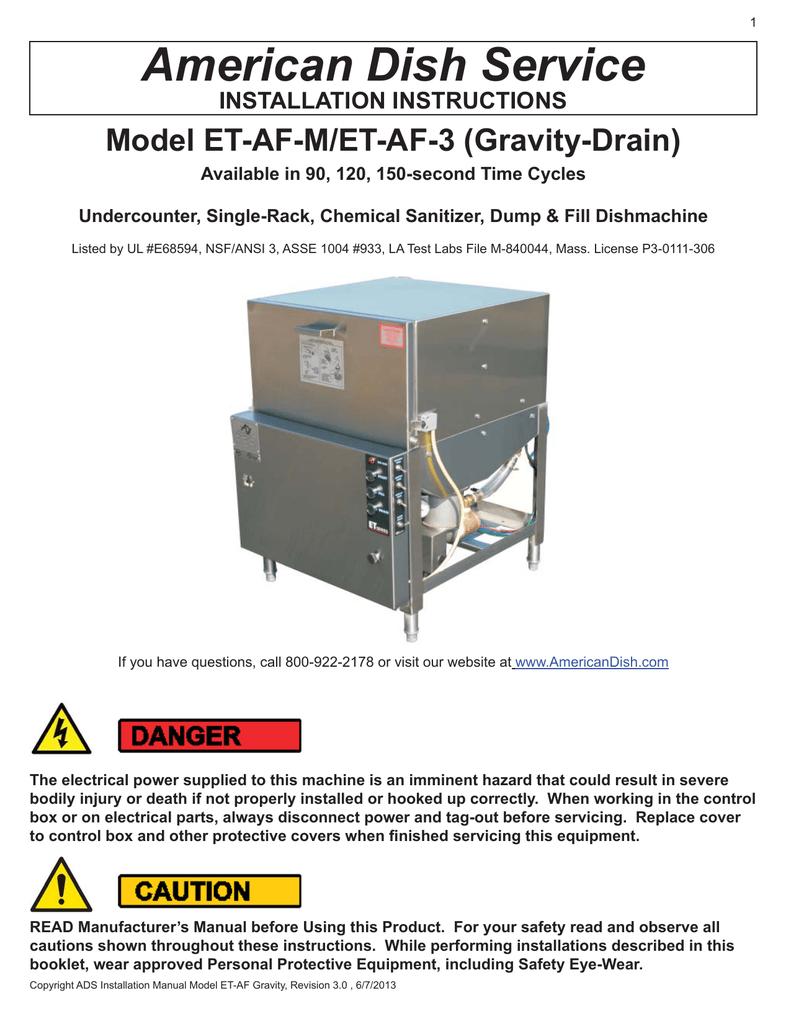 American Dish Service Model ET-AF-M/ET-AF-3 (Gravity-Drain) INSTALLATION  INSTRUCTIONS   Manualzz   Ads Dish Machine Wiring Diagram      Manualzz