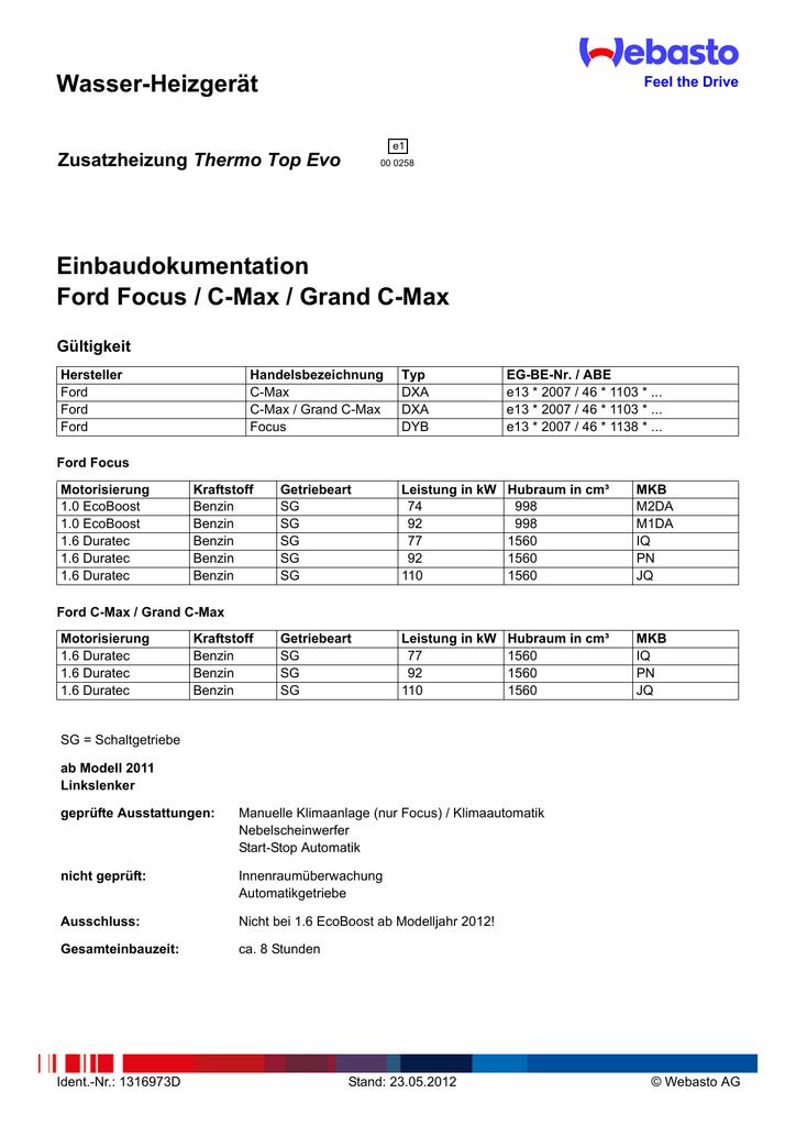Wasser-Heizgerät Einbaudokumentation Ford Focus / C-Max / Grand C ...
