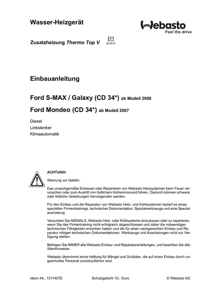 Wasser-Heizgerät Einbauanleitung Ford S-MAX / Galaxy (CD 34*) Ford ...