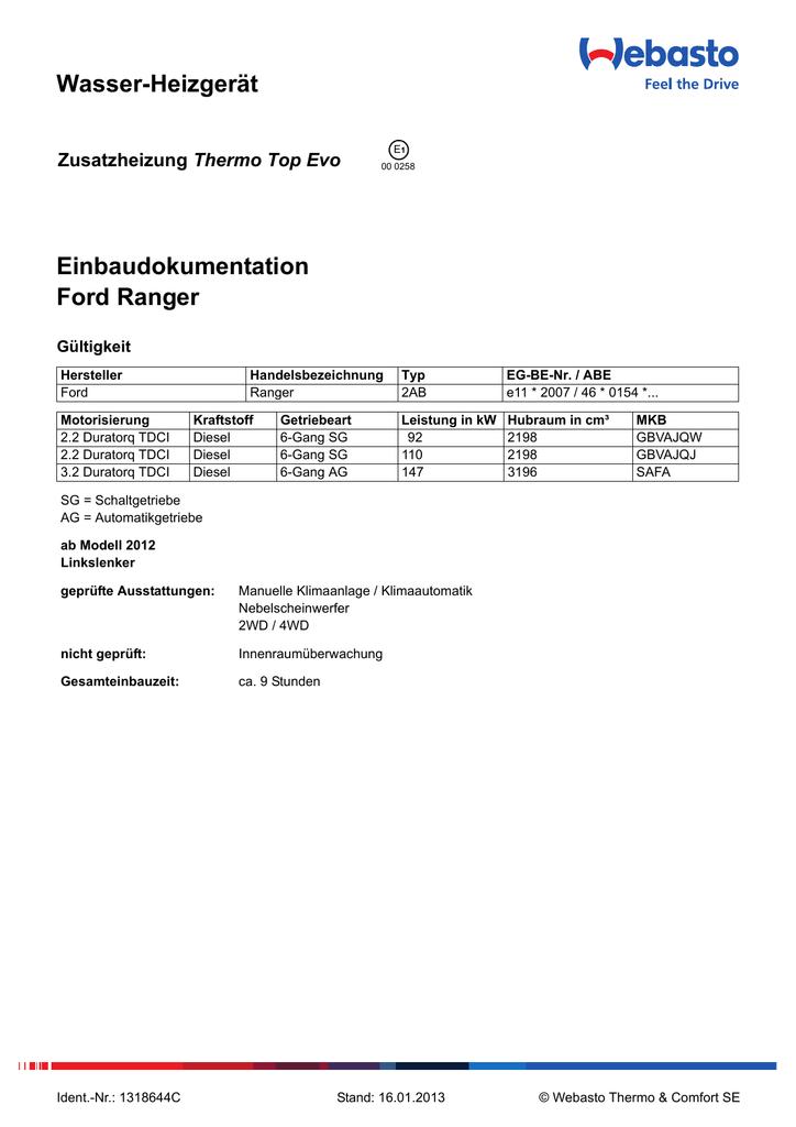 Wasser-Heizgerät Einbaudokumentation Ford Ranger Thermo Top Evo ...