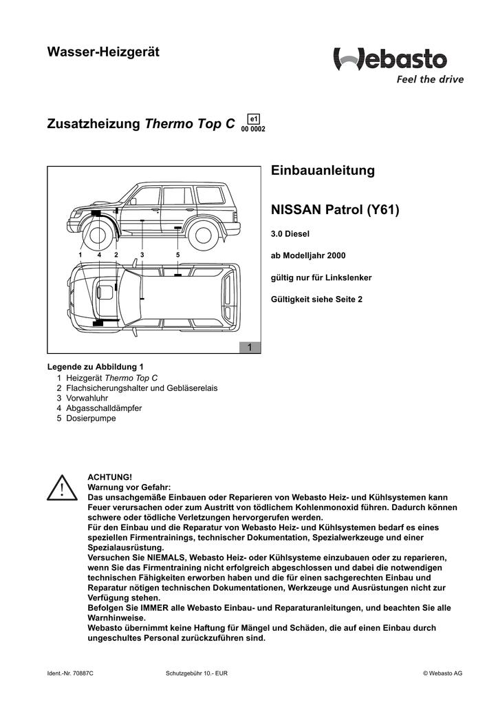 Wasser-Heizgerät Thermo Top C Einbauanleitung NISSAN Patrol (Y61 ...